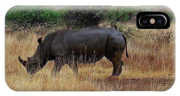 Exploramum iPhone Case - African Animals On Safari - One Very Rare White Rhinoceros Right Angle With Background by Exploramum Exploramum