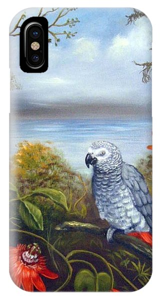 African Grey With Flowers IPhone Case