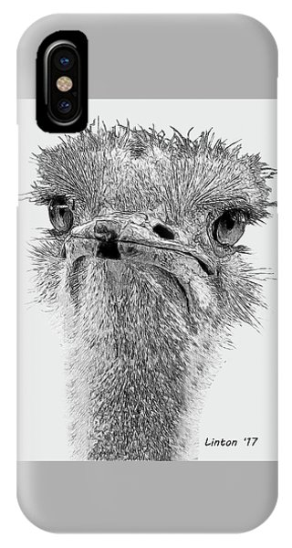 African Ostrich Sketch IPhone Case