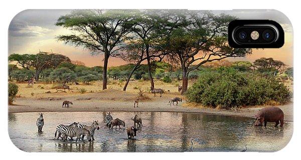 African Safari Wildlife At The Waterhole IPhone Case