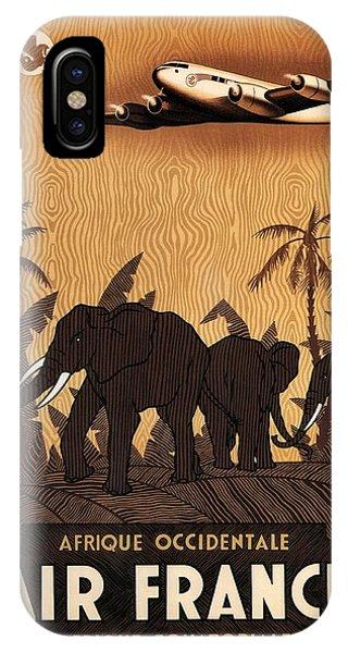 Advertising iPhone Case - Afrique Occidentale - Air France - Afrique Equatoriale - Retro Travel Poster - Vintage Poster by Studio Grafiikka
