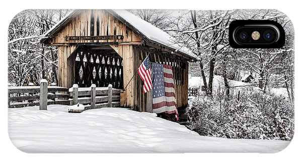After A Winter Snow Storm Cilleyville Covered Bridge  IPhone Case