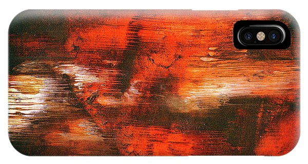 After Midnight - Black Orange And White Contemporary Abstract Art IPhone Case