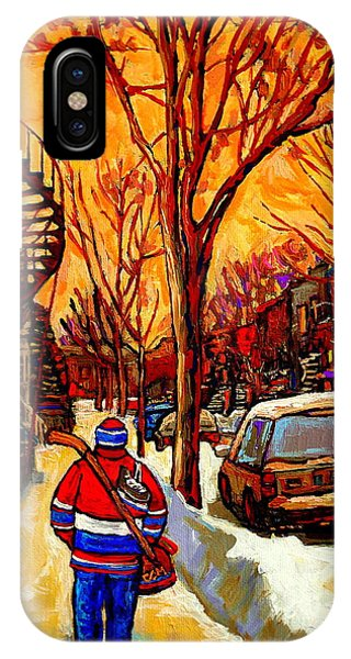 After The Hockey Game A Winter Walk At Sundown Montreal City Scene Painting  By Carole Spandau IPhone Case