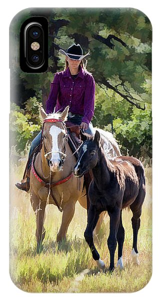 Afternoon Ride In The Sun - Cowgirl Riding Palomino Horse With Foal IPhone Case