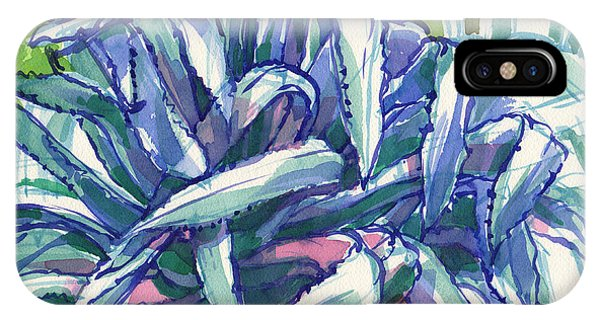 IPhone Case featuring the painting Agave Tangle by Judith Kunzle
