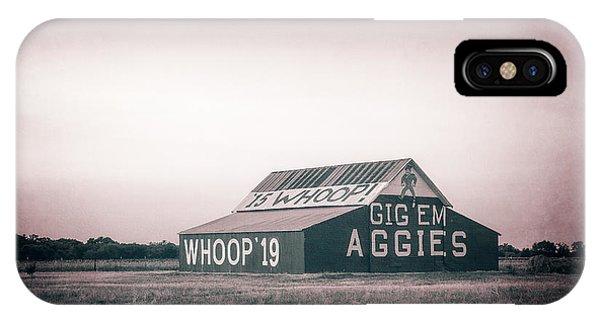 Aggie iPhone Case - Aggie Barn Sunrise 2015 Platinum Textured by Joan Carroll
