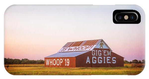 Aggie iPhone Case - Aggie Barn Sunrise 2015 Textured by Joan Carroll
