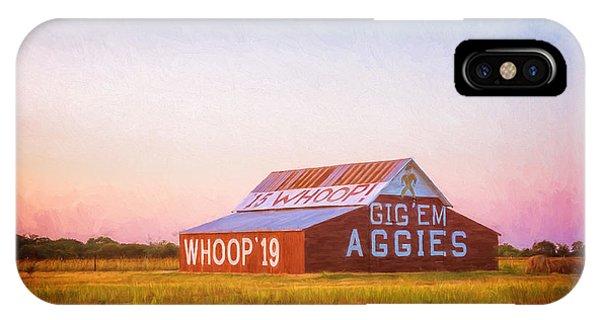 Aggie iPhone Case - Aggie Barn Sunrise Painterly by Joan Carroll