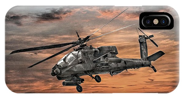 Helicopter iPhone X Case - Ah-64 Apache Attack Helicopter by Randy Steele