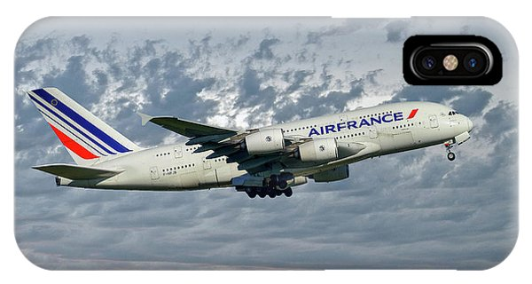 French iPhone Case - Air France Airbus A380-861 113 by Smart Aviation