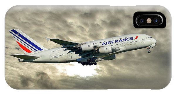 French iPhone X Case - Air France Airbus A380-861 115 by Smart Aviation
