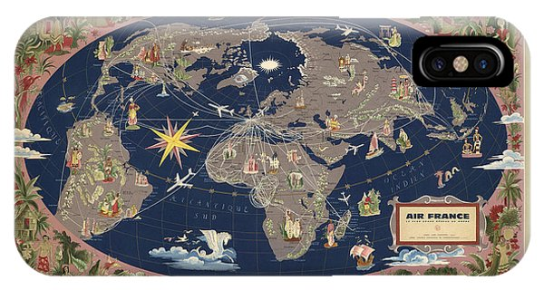 French iPhone Case - Air France - Illustrated Map Of The Air Routes By Lucien Boucher - Historical Map Of The World by Studio Grafiikka