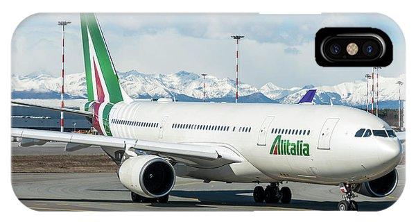 Alitalia iPhone Case - Airbus A330 Alitalia With New Livery  by Roberto Chiartano