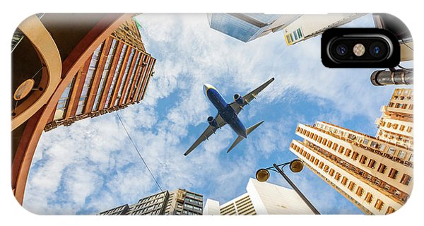 Airplane Above City IPhone Case