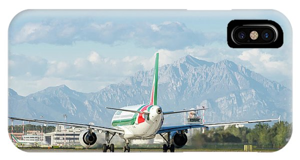 Alitalia iPhone Case - Airplane And Mountains by Alexandre Rotenberg