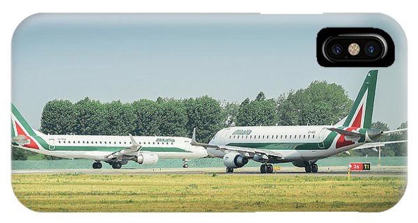 Alitalia iPhone Case - Airplanes That Appear To Be Kissing by Alexandre Rotenberg