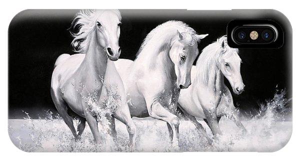 White Horse iPhone Case - Al Galoppo  Nella Notte by Guido Borelli