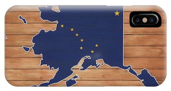 Traveler iPhone Case - Alaska Map And Flag On Wood by Dan Sproul