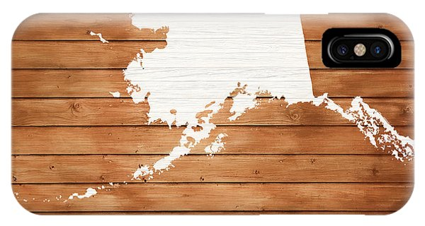 Traveler iPhone Case - Alaska Rustic Map On Wood by Dan Sproul