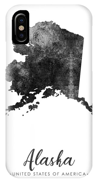 Texture iPhone Case - Alaska State Map Art - Grunge Silhouette by Studio Grafiikka