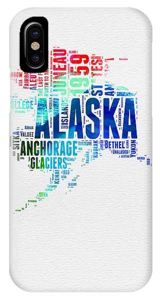 Typography iPhone Case - Alaska Watercolor Word Cloud  by Naxart Studio