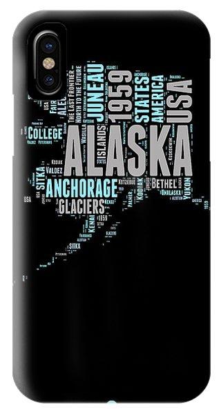 Typography iPhone Case - Alaska Word Cloud 1 by Naxart Studio