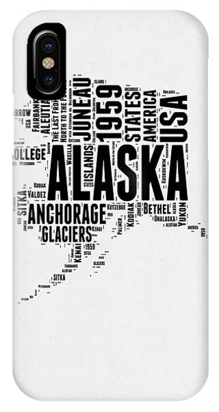 Typography iPhone Case - Alaska Word Cloud 2 by Naxart Studio