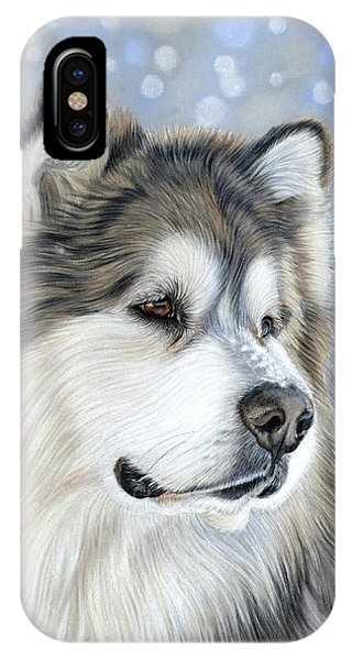 IPhone Case featuring the mixed media Alaskan Malamute by Donna Mulley