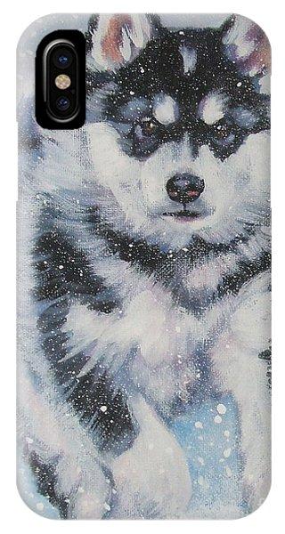 Sled Dog iPhone Case - alaskan Malamute pup in snow by Lee Ann Shepard