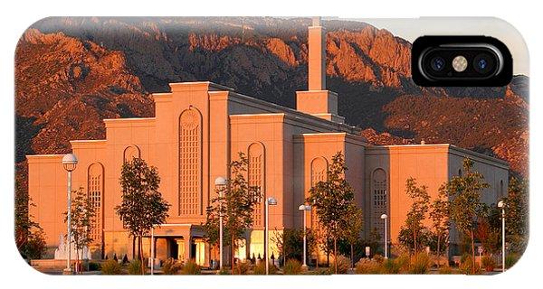 Albuquerque Lds Temple At Sunset 1 IPhone Case
