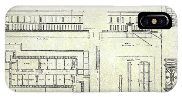 Alcatraz Defensive Barracks Drawing 1859 IPhone Case