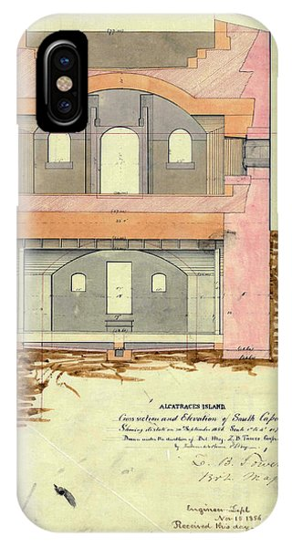 Alcatraz South Capniere Drawing 1856 IPhone Case