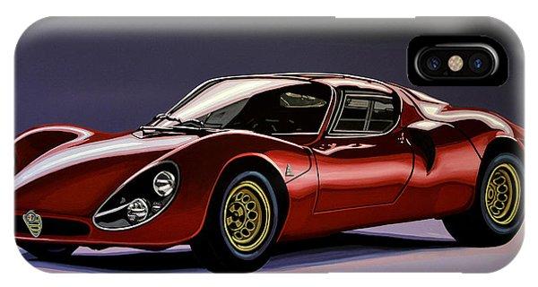 Oldtimer iPhone Case - Alfa Romeo 33 Stradale 1967 Painting by Paul Meijering