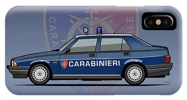 Alfa Romeo 75 Tipo 161, 162b Milano Carabinieri Italian Police Car IPhone Case