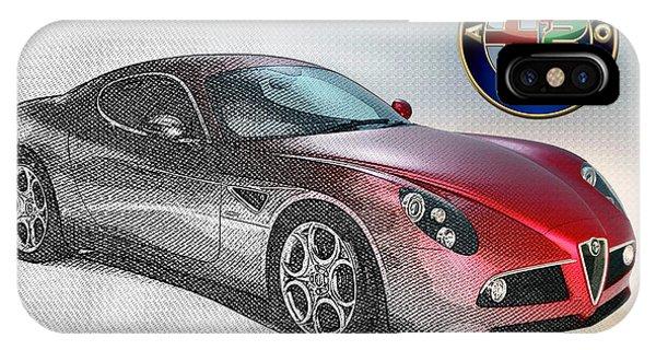 Autos iPhone Case - Alfa Romeo 8c Competizione  by Serge Averbukh