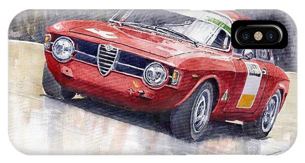 Red iPhone X Case - Alfa Romeo Giulie Sprint Gt 1966 by Yuriy Shevchuk