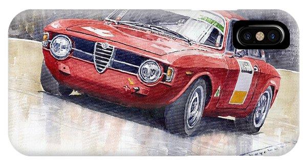 Red iPhone Case - Alfa Romeo Giulie Sprint Gt 1966 by Yuriy Shevchuk