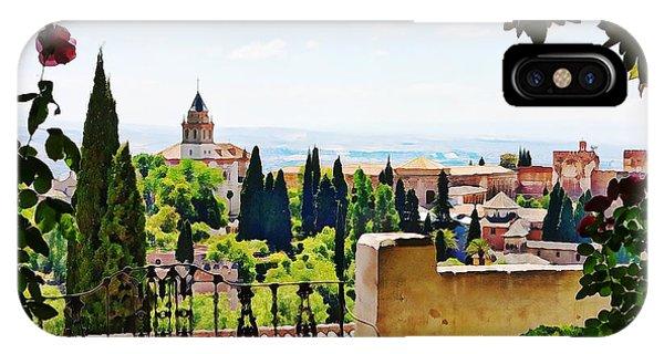 Alhambra Gardens, Digital Paint IPhone Case