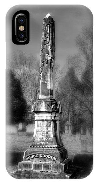 Alice Cooper Grave In Black And White IPhone Case