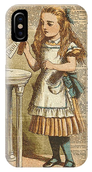 Alice In Wonderland Drink Me Vintage Dictionary Art Illustration IPhone Case