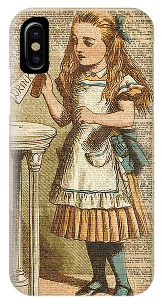 Vintage iPhone Case - Alice In Wonderland Drink Me Vintage Dictionary Art Illustration by Anna W