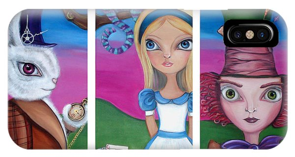 Alice In Wonderland iPhone Case - Alice In Wonderland Inspired Triptych by Jaz Higgins