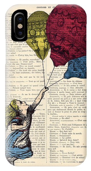 Celebration iPhone Case - Alice In Wonderland With Big Colorful Balloons by Madame Memento