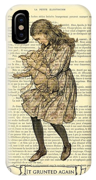 Again iPhone Case - Alice In Wonderland With The Pig by Madame Memento