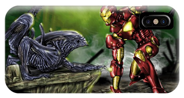 Alien Vs Iron Man IPhone Case