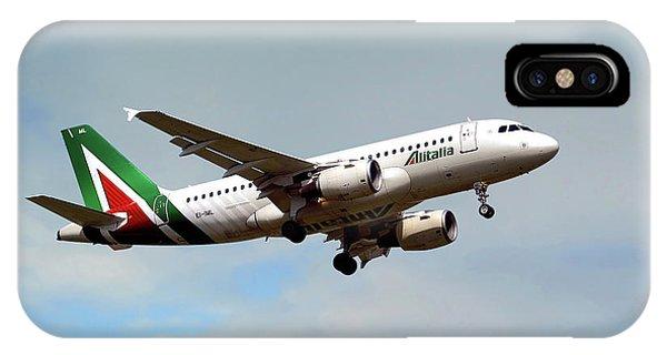 Alitalia iPhone Case - Alitalia Airbus A319-112 by Smart Aviation