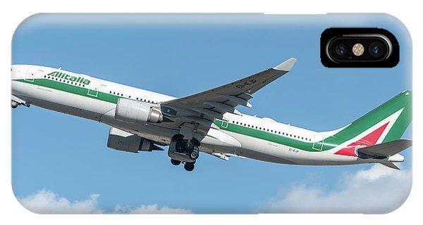 Alitalia iPhone Case - Alitalia Airbus A330-200 Departed From Milano Malpensa by Roberto Chiartano