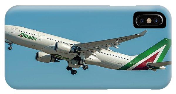 Alitalia iPhone Case - Alitalia Airbus A330-200 by Roberto Chiartano