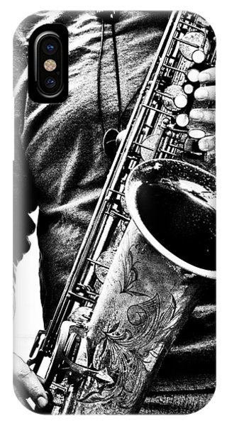 Saxophone iPhone Case - All Blues Man With Jazz On The Side by Bob Orsillo